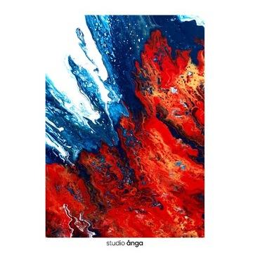 "Obraz ""Walka"", pouring, akryl na płótnie, 50x70"