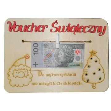 Tabliczka prezent Voucher Świąteczny grawer