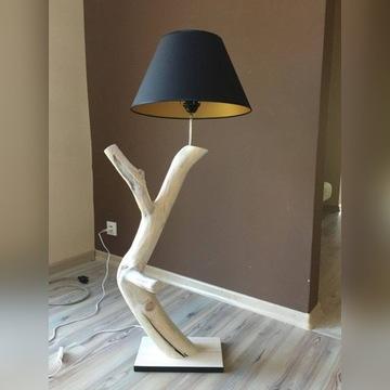 Lampa stojąca, drewniana , czarny abażur