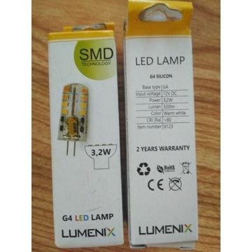 10 x żarówka LED G4 SMD 3,2W mini CIEPŁA 12V DC