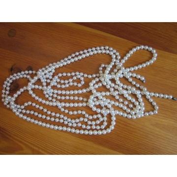 2 długie sznury sztuczne perły