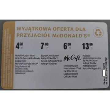 Koperta + Gratis Bonifikarta McDonalds
