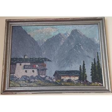 "Obraz malowany na płótnie ""Dom w Alpach"""