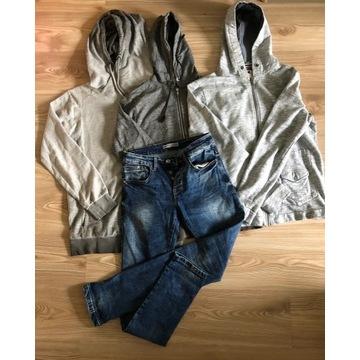 Zestaw ubrań 3 bluzy i spodnie jeans