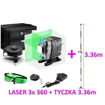 Laser zielony krzyżowy poziomica DEKO 360 + TYCZKA