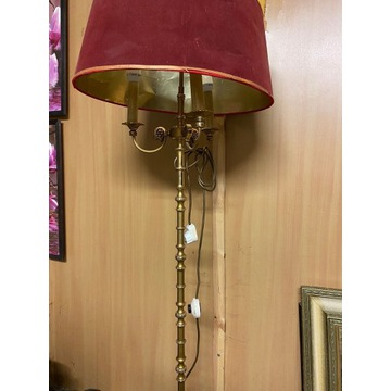 Lampa mosiężna wysoka abażur