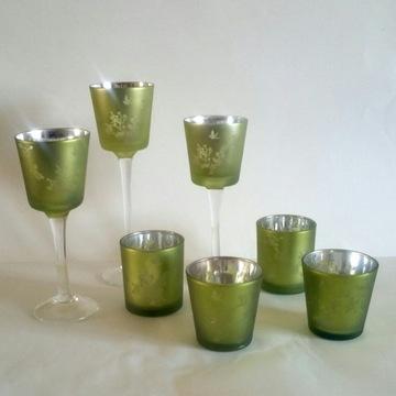 Szklane świeczniki lustrzane