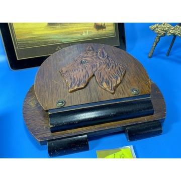 ANTYK Listownik - rzeźba psa. WIESZAK NA LISTY