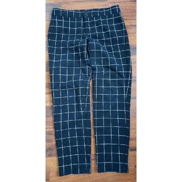 Spodnie MANGO cygaretki krata czarne 38 M damskie