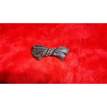 Srebrna kokardka ozdobna spinka do włosów