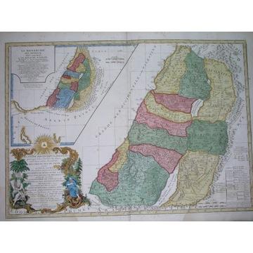 1757 ZIEMIA ŚWIĘTA BIBLIA PALESTYNA mapa ORYGINAŁ