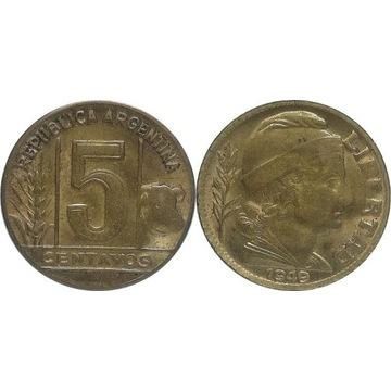Argentyna 5 centavos 1949, KM#40