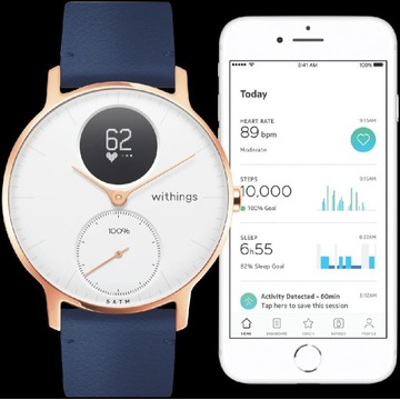 Withings Steel HR 36mm, Rose Gold, Blue Leather