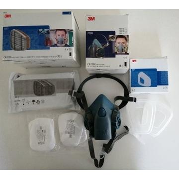 3M 7502 ochronna+filtry węglowe i P2 przeciwpyłowy