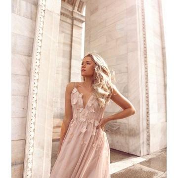 Maxi sukienka bezowa S 36 tiulowa zwiewna wesele w