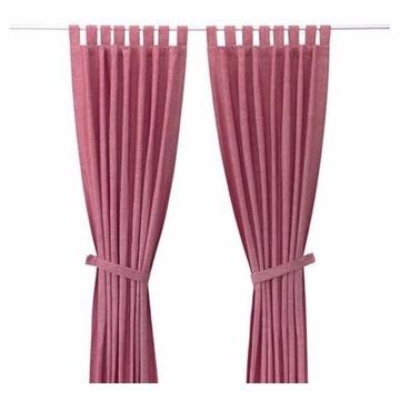Dwie Zasłony wiązane IKEA Lenda ciemny róż 140x300