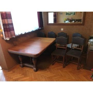 Dębowy stół i 6 krzeseł,antyk