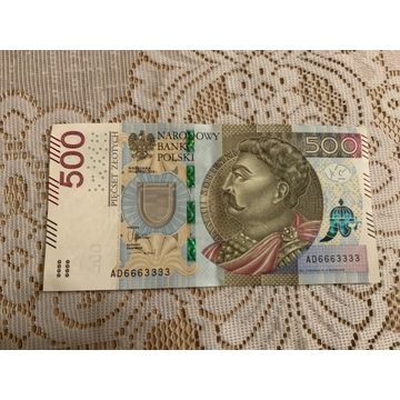 500 ZŁ SERIA AD 6663333 2016 r. NOWY