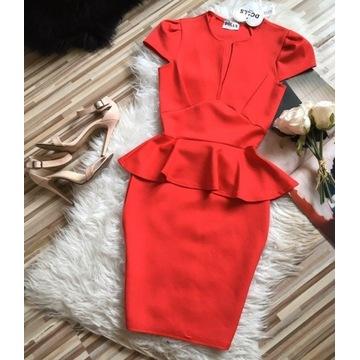 Czerwona baskinka sukienka S