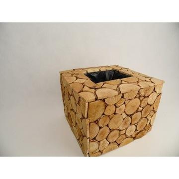doniczka dla storczyka plastry drewna  osłonka