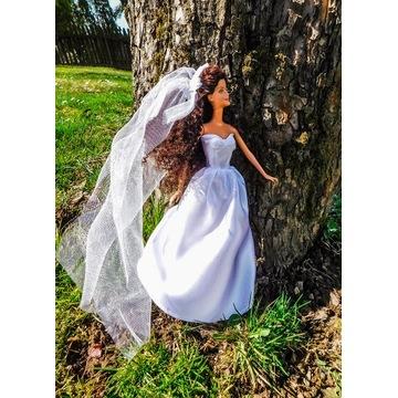Suknia ślubna z welonem ubranko sukienka dla lalki