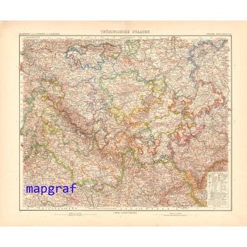 TURYNGIA oryginalna mapa z 1906 roku 13