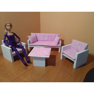 Salon dla lalki  Sofa,2x-Fotel,Stolik