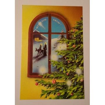 Pocztówka Boże Narodzenie choinka okno Św Rodzina