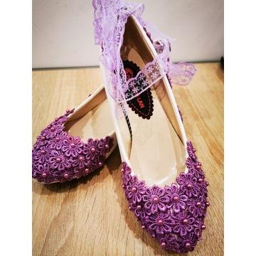 Piękne buty ślubne! Nowe! Rozmiar 36 Fioletowe