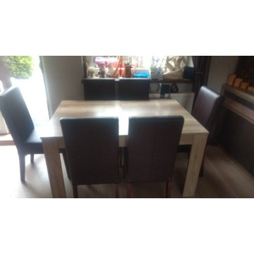 stół krzesła witryna komoda komplet mebli