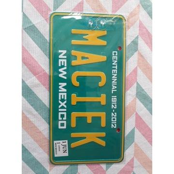 Tablica rejestracyjna, Maciek, nowa, na szybę, USA