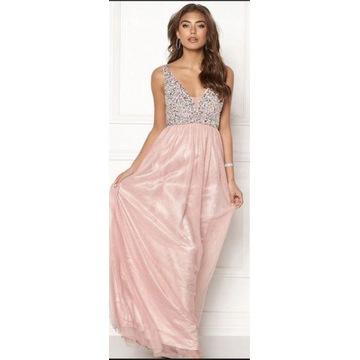Maxi sukienka wieczorowa z cekinami XL różowa tiul