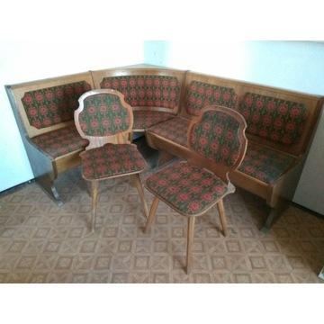 Narożnikowa ława kuchenna z 2 krzesłami