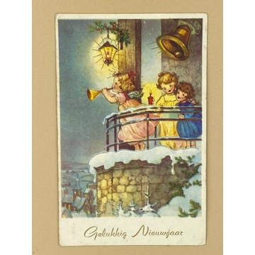 Kartka z aniołkiem i dziećmi