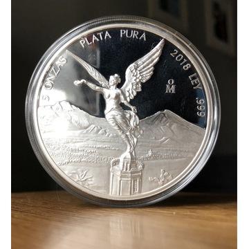 Libertad 2018 Proof, 5oz Ag, srebro