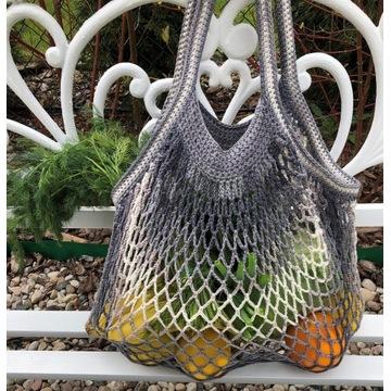 Siatka paryżanka market bag zakupy eco hand-made