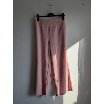 Pudrowo różowe spodnie culkoty loose fit dzwony vi