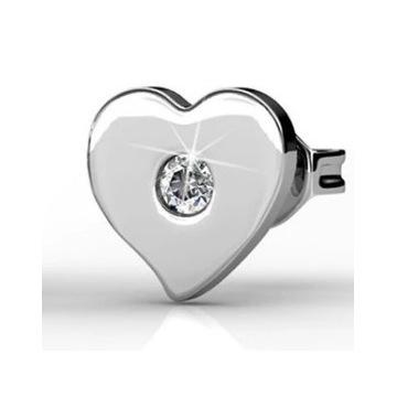 Kolczyki białe złoto w ksztacie serc - SWAROVSKI