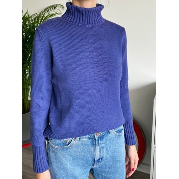 Sweter golf sweterek fioletowy niebieski basic