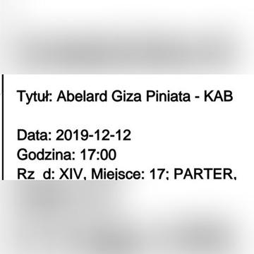 Bilety Abelard Giza ! Dziś o 17:00 Warszawa !