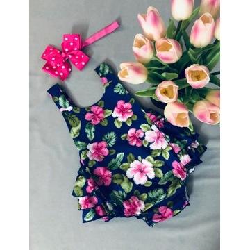 Wiązane Body / Rampers dla dziewczynki kwiaty 68