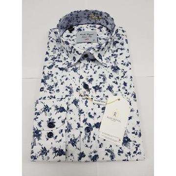 Męska koszula KUDI nowa M casual SlimFit WESELE