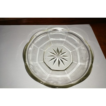 piękny szklany talerzyk Huta Niemem