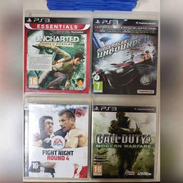 Gry PS3 cena za sztukę uncharted cod ridge racer