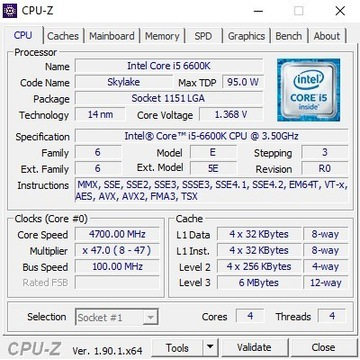 Procesor Intel Core i5 6600K @ 4.7 GHz