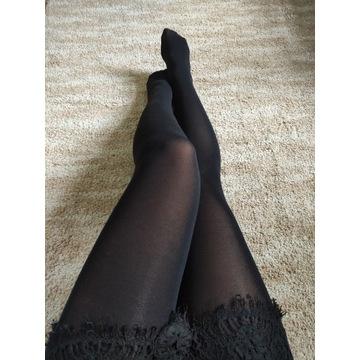 Rajstopy czarne kryjące noszone fetysz