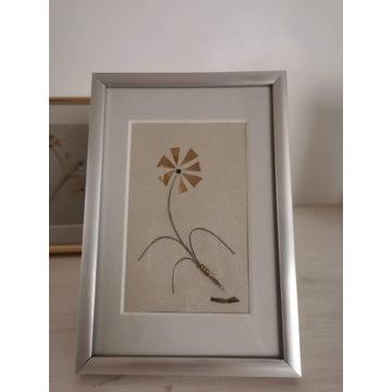 Obrazek ręcznie wykonany, metaloplastyka, kwiat