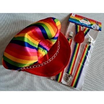 Szelki i czapka w tęczowe pasy strój na przebranie