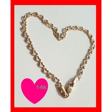Złota bransoletka serca serduszka 585 14k złoto <3