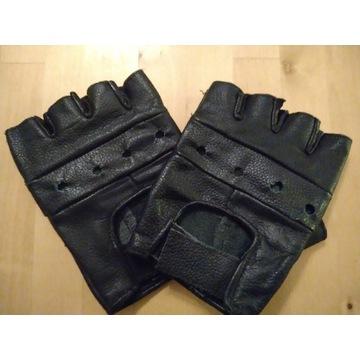 Rękawiczki bez palcòw skòrzane XL